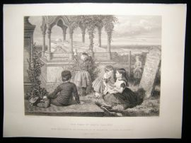 Children 1872 Antique Print. The Tomb of Grace Darling, Art Journal
